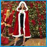 Women Christmas Cloak Mrs Santa Cape Xmas Red Velvet Hooded Robe Cosplay Costume