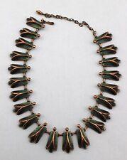 MATISSE Vintage Copper Green Enamel Chunky Modernist Statement Necklace Signed