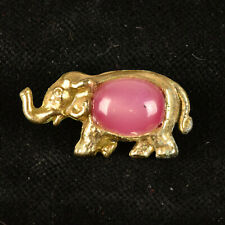 """VTG Gold Tone Metal Goofie Realistic Sewing Button Elephant Pink Moonglow 1.25"""""""