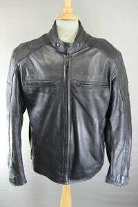 BLACK LEATHER BIKER JACKET WITH REMOVABLE SHOULDER & ELBOW CE ARMOUR 46 INCH