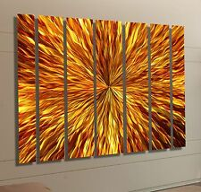 Huge Modern Abstract Metal Wall Decor Painting Commercial Art - Amber Vortex XL