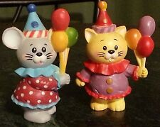 enesco 1984 birthday cat and mouse balloons hats cake or present topper