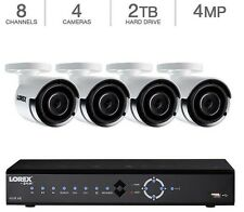 NEW Lorex 8 Channel HD PoE NVR 4K Security 2TB 4 x 1080p 4MP IP 2K Cameras