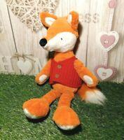 "Sainsbury's Orange & White Soft Plush Toy Fox w Red Knitted Waistcoat ~ 15"" Tall"