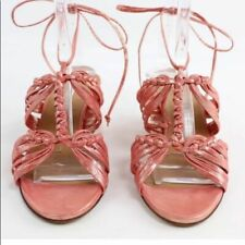 Fratelli Rossetti Shimmer Braided Block Heel Sandal Lace Up Leather Designer 39