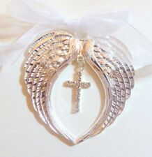 Arms of an Angel Christmas Tree Decoration Bright Silver Crystal Cross Memorial