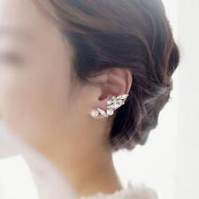 New Women Clip Earring Crystal Alloy Gold Edge Leaf Ear Cuff Ear Lobe Spike Stud