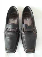 GABOR SLIP ON LEATHER SHOES WITH BUCKLE DETAIL - BROWN - SIZE 4