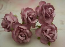 Mulberry Paper Roses Mauve 30mm wild rose wedding craft card making