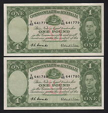 New listing Australia R-32. (1952) One Pound - Coombs/Wilson. Ef - Consecutive Pair