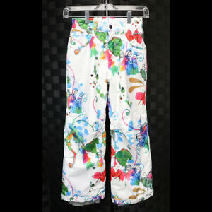 Spyder Kids Size 8 Vibrant Colors Graffiti Art White Adjustable Length Snow Pant