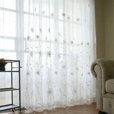 Modern Floral Embroidery Sheer Curtain White Flowers Voile for Bedroom 1 Piece