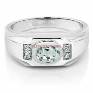 925 Sterling Silver with Natural Aquamarine Faceted Gemstone Ring for Men #230