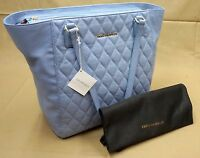 NWT $298 Vera Bradley Quilted Ella Tote Chambray LEATHER Handbag Blue Bag NEW