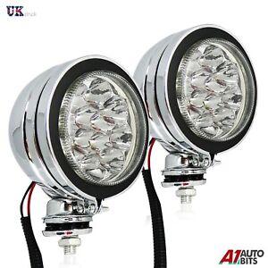 "PAIR OF STUNNING 4"" CHROME LED CAR SPOT LAMPS DAYTIME DRIVING LAMPS FOG LIGHTS"