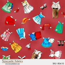 fabric Paper Doll clothes 804-10 school outfits RED 100% cotton BTY Sibling Arts
