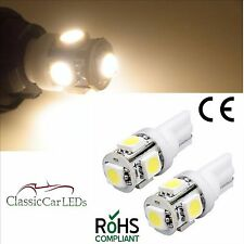 2X 24 VOLT GLB505 507 T10 LED Warm White Wedge Bulb Gauge Sidelight Capless W5W