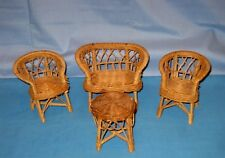 VINTAGE Lot 4 WICKER AND TWINE DOLLhouse SIZE SOFA TABLE AND TWO CHAIRS!