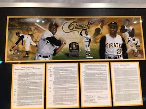 """45""""x31 Lithograph Roberto Clemente With Copy of Original Pirates Signed Contract"""