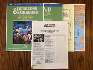DA4 THE DUCHY OF TEN 1987 Dungeons & Dragons 1st Ed Module COPIED COVER AND MAP