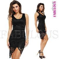 Sexy Envelope Lace Mini Dress Ladies Clubwear Evening Size 8 10 12 14 S M L XL