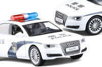 New 1:32 Audi A8 Police Alloy Car Model Toy Vehicles Pull Back Flashing Musical