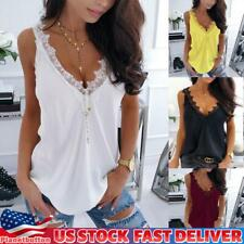 US Women Lace Vest Tank Tops Cami Camisole Summer Sleeveless Top Blouse Shirt
