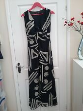 M & S Autograph Womens Navy Mix Silk Dress Size 10 Length 44  Worn Once