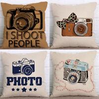 18'' Fashion Camera Cotton Linen Pillow Case Sofa Cushion Cover Home Decor