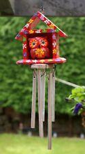 Owl House Wind Chime 30cm Hand Made Garden Ornament Decor Aluminium Tubes Gift