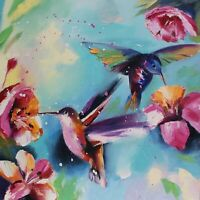 Hummingbird painting original oil 16x16 inches palette knife impressionism art