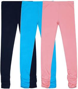 Girls  Leggings Knit Cotton Stretch Pack of 3 Leggings Pack Pink Blue Navy Bienz