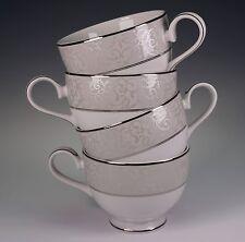 Mikasa Set of 4 Parchment Silver Gray White Cups L3438 Coffee Tea China