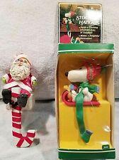 2 VTG Xmas Stocking Hangers Snoopy w/Woodstock (Hallmark)+extra Santa hanger