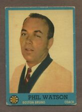 1962-63 Topps Hockey No. 1 Bruins Phil Watson Vg
