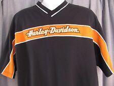 Harley-Davidson Motorcycles Large Shirt Casual Embroidered Orange Black Shirt HD
