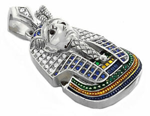 """18K GD PT 4mm 24"""" Miami Cuban Chain w Micropave Pharaoh Pendant Necklace 8518"""