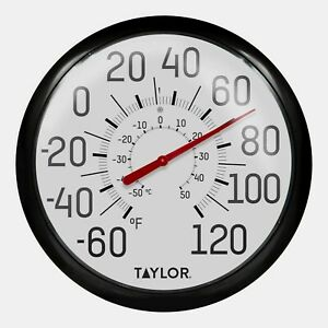 "#6700 TAYLOR Large 13.5"" EASY TO READ In/Outdoor Black Dial Thermometer F/C NEW!"