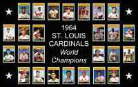 1964 ST LOUIS CARDINALS Baseball Card Complete Set POSTER Artwork Man Cave Decor