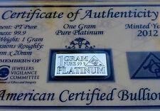 ACB 1GRAM Platinum 99.9 Pure Bullion Bar in Certificate of Authenticity =