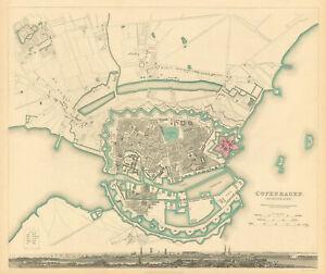 COPENHAGEN KIOBENHAVEN KOBENHAVEN KØBENHAVN. Town city map plan. SDUK 1844