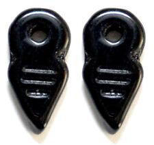 2 CZECH GLASS BERBER CHARMS / PENDANTS / AMULETS, TALHAKIMT, BLACK, 19 X 9 MM