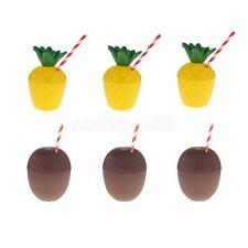 6x Tropical Pineapple Coconut Drink Cups+Straw Set Hawaiian Luau Beach Party