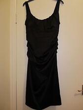 Suzi Chin Damas Vestido de Satén Negro Label tamaño 8 in (approx. 20.32 cm) En Perfecto Estado