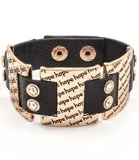INSPIRATIONAL WORDS Gold Black leather Crystal Cuff Bracelet By Rocks Boutique