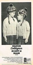 PUBLICITE ADVERTISING  1965   COLLEGIEN   mode enfantine DRALON EN SCOTT 45