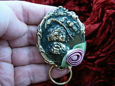 #E450) Woman rose Eyeglass BRASS pin pendant ID badge holder