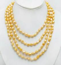 candy-gem 80'' Trendy Women Necklace & Orange Natural Pearl Baroque 7-9mm-ne6450