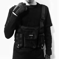 Nylon Chest Rig Fashion Bag Black Vest Hip Hop Streetwear Functional Tactical US