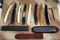 Antique & Vintage LOT of 8 Straight Razors and 3 Cases Plus 1 Dbl Edge Razor